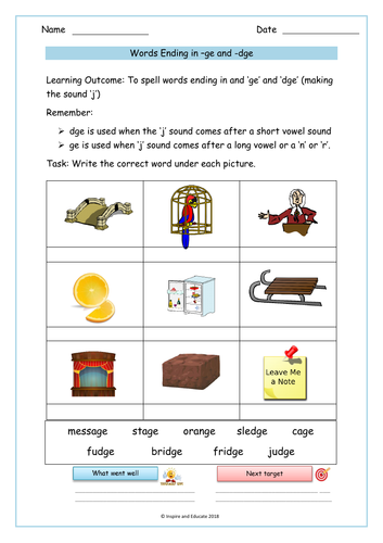 ge' and 'dge' sounds / words worksheet by Krazikas - Teaching ...