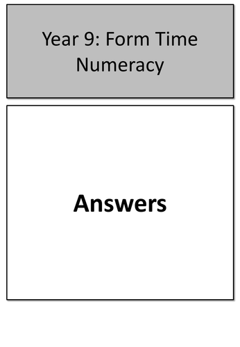 KS3 Form Time Numeracy
