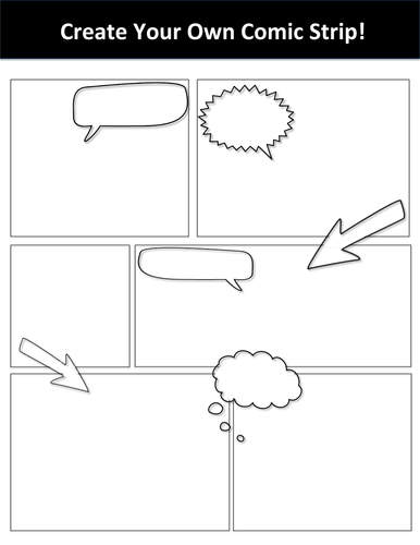 Create a cartoon strip ks2 for Printable blank comic strip template for kids
