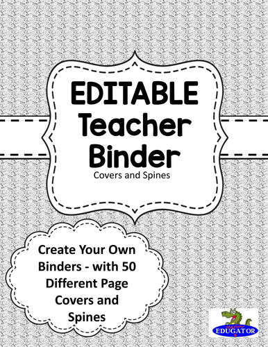 editable teacher binder covers gray by happyedugator teaching