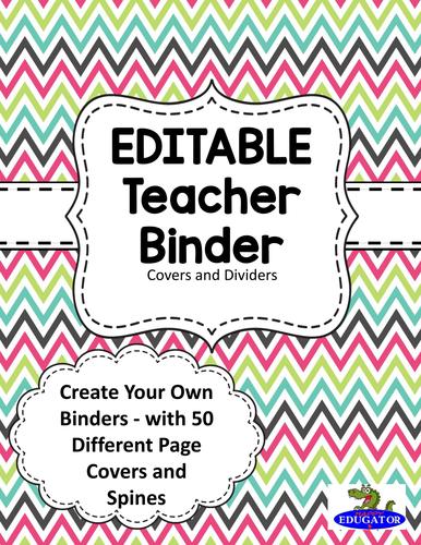 editable teacher binder covers spring chevron by happyedugator