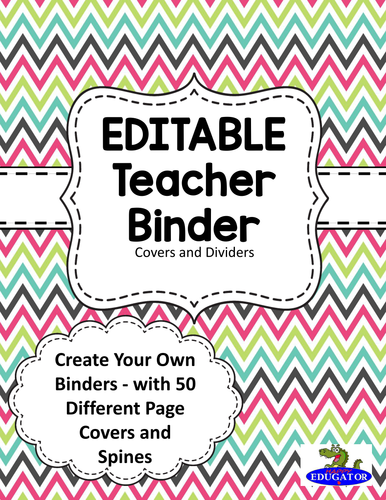 EDITABLE Teacher Binder Covers - Spring Chevron