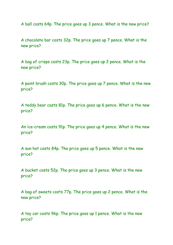 Money word problems - addition by BethAParker   Teaching Resources