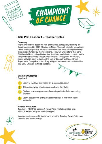 BBC Children in Need KS2 PSHE/PSE/PDMU Lesson – Teacher Notes