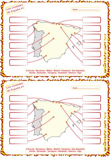 Spanish: Spanish Cities & Towns - Map Activity 1
