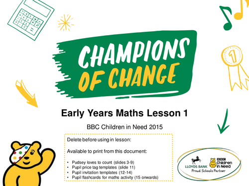 BBC Children in Need Early Years Maths Lesson – PowerPoint