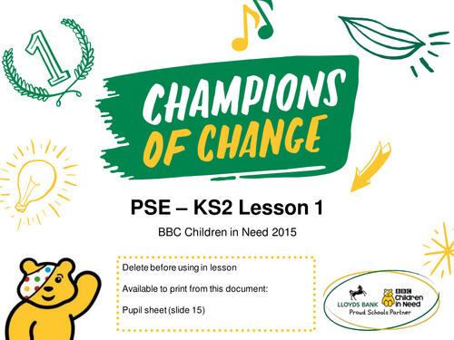 BBC Children in Need KS2 PSHE/PSE/PDMU Lesson – PowerPoint