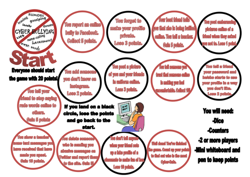 Cyber-Bullying and Stop the Bully! Board Games (anti-bullying)