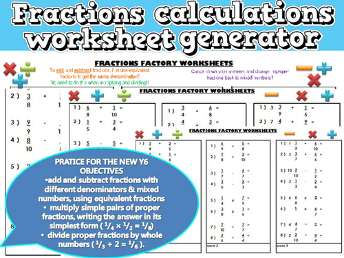Fractions Calculations worksheet generatorunlimited practice new – Fraction Worksheet Generator
