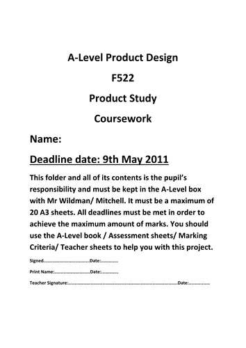 AS OCR Product Design F522 Student Guide