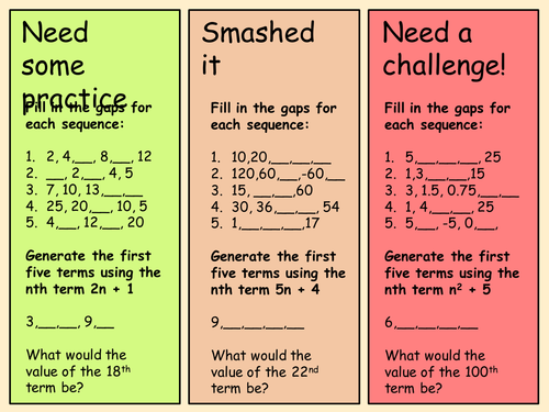 Sequences differentiated worksheet