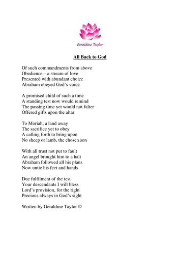 All Back to God poem