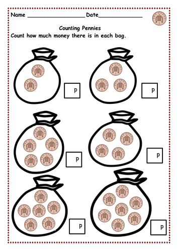 Money - Counting pennies up to 10p and then 15p,20p & 30p  using 1p, 2p, 5p,  10p & 20p coins