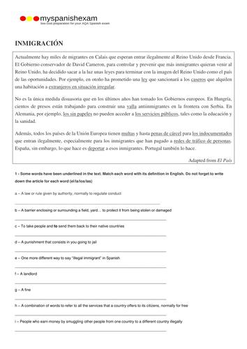 AQA A2 SPANISH - IMMIGRATION