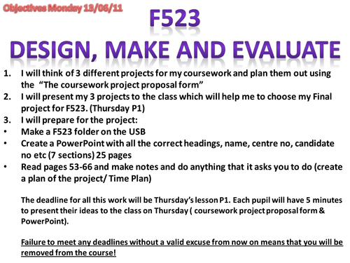 OCR A Level Product Design F523 Student guide Design, Make and Evaluate