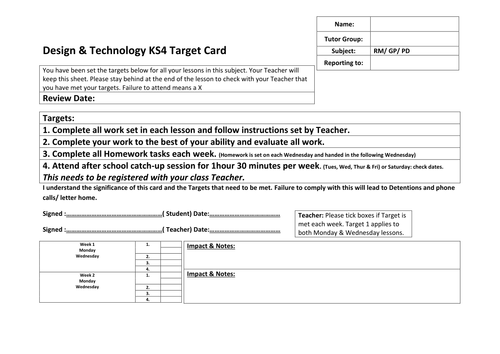 KS4 Design & technology Target Card Intervention
