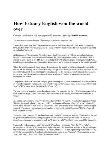 Language Diversity: Estuary English