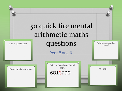 50 x mental arithmetic maths challenges