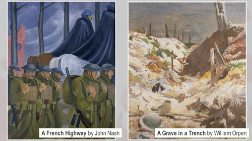 Paintings of the Trenches of WWI - Remembrance Day display/assembly