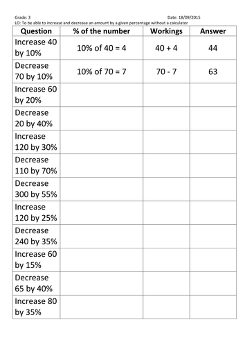 Increase and decrease amount by a percentage non-calculator by ...