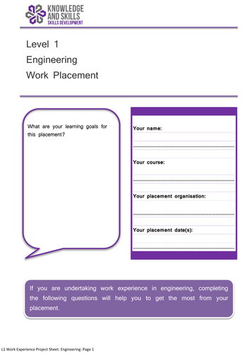 Level 1 Work Experience Project: Engineering