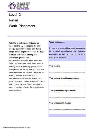 Level 2 Work Experience Project: Retail