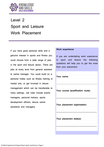 Level 2 Work Experience Project: Sport and Leisure