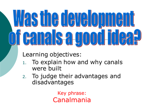 The development of canals