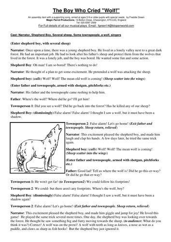 The Boy Who Cried Wolf Play Script For Kids