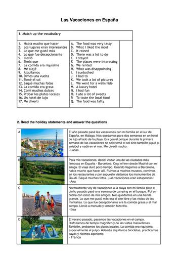 GCSE Y10 Vacaciones en el pasado reading worksheet (past tense)