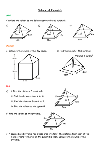 volume of a pyramid worksheet worksheets kristawiltbank free printable worksheets and activities. Black Bedroom Furniture Sets. Home Design Ideas