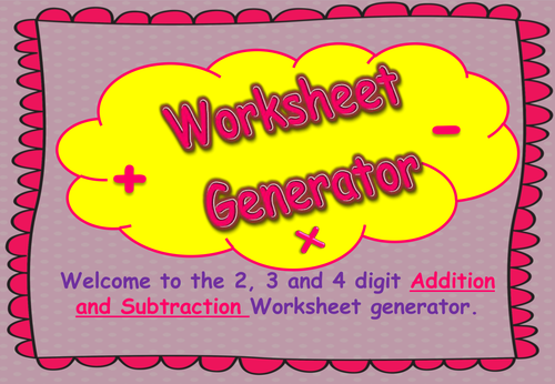 Addition Subtraction and Multiplication Worksheet Generator 2 3 – Subtraction Worksheet Generator