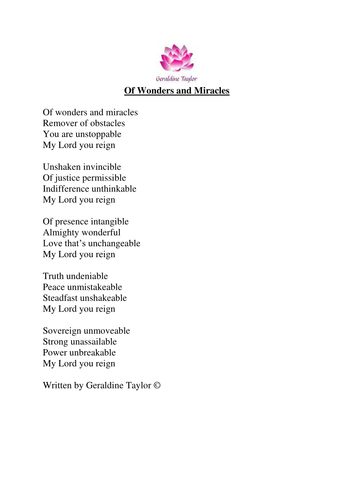 Of Wonders and Miracles Poem