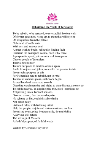 Rebuilding the Walls of Jerusalem poem