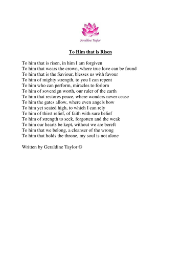 To Him that is Risen poem