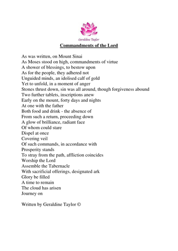 Commandments of the Lord poem