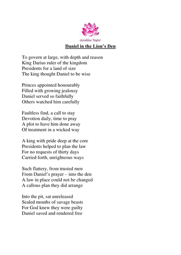 Daniel in the lions den poem