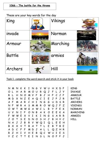 1066 Battle of Hastings EAL worksheet