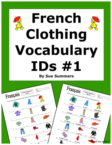 french clothing vocabulary ids worksheet by uk teaching resources tes. Black Bedroom Furniture Sets. Home Design Ideas