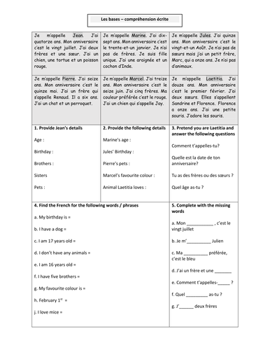 Absolute Beginners French Narrow Reading Comprehension Activities