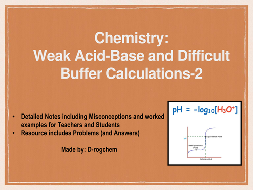 Chemistry: Easy and difficult weak acid-base calculations