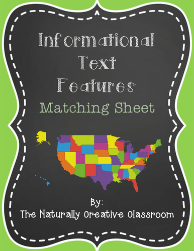 Informational Text Features Matching Page