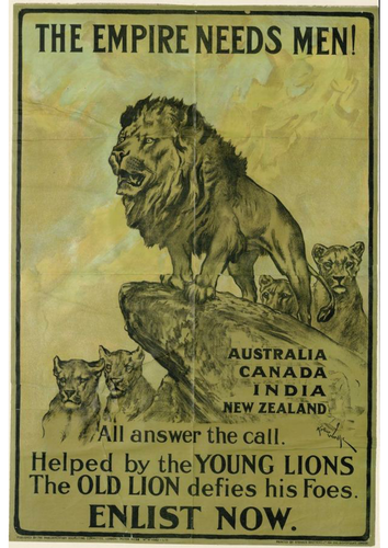 Propaganda posters from both world wars display