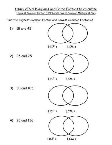 Investigation Hcf Lcm Pfd 6437158 on Venn Diagram Worksheets Ks2