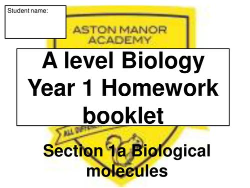 AQA A level Biology new spec Biological molecules revision booklet – Biological Molecules Worksheet
