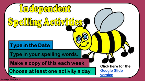 Independent Spelling Activities