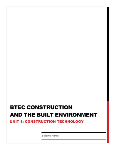 BTEC Construction Unit 1 Exam Revision work book by