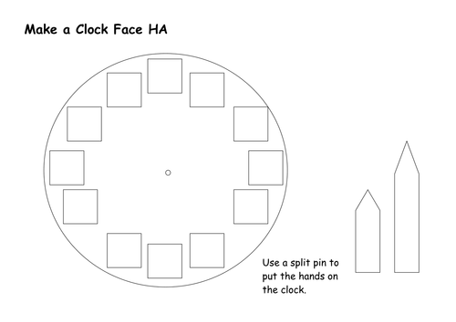Differentiated Clock Face Template Teaching Resources