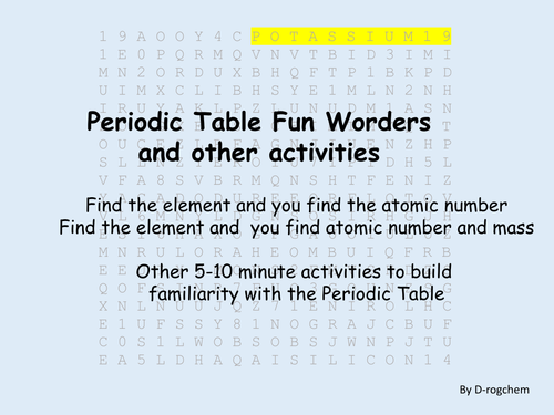 periodic table fun worder including atomic numbers and other activities