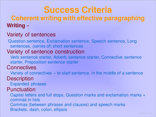 Success Criteria - Coherent writing, effective paragraphing